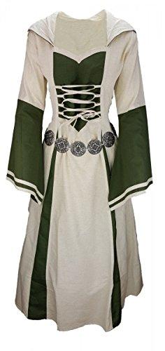 Dark Dreams Mittelalter LARP Kleid Mittelalterkleid Gewandung Gewand mit Kapuze Aurea optional mit Gürtel, Farbe:Natur/olivgrün mit Gürtel
