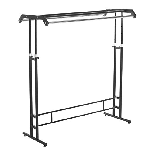 Deluxe Black Metal Double Rod Height Adjustable Clothing Display Rack / Retail Garment Stand - MyGift