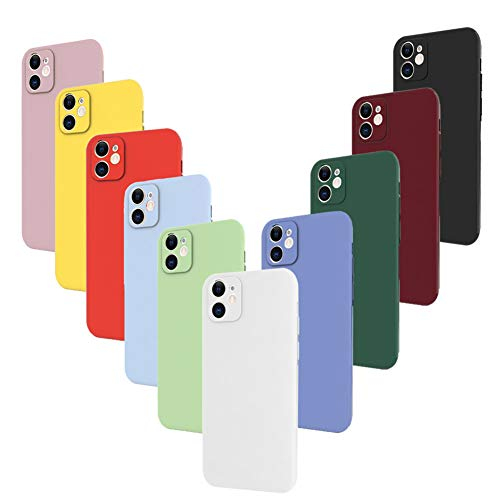 Ptny 10x Cover per iPhone 11, Cover Posteriore con Protezione Fotocamera, Morbido Silicone Case Tinta Unita Custodia TPU Gomma Protezione Antiscivolo Protettiva Skin Caso …