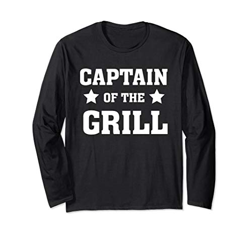 Captain of the grill - Cook - Dad Grilling Out Smoker Langarmshirt