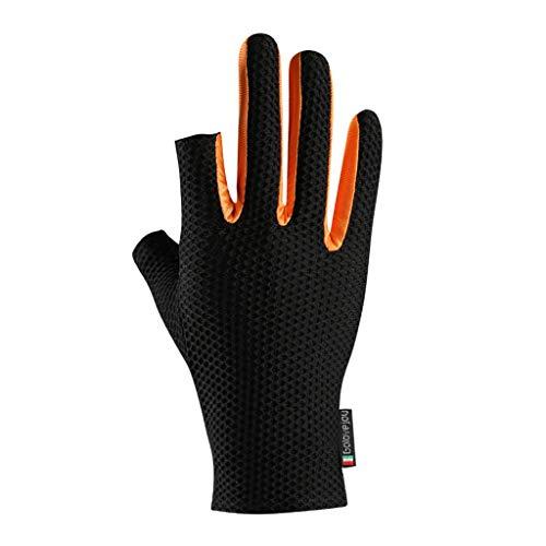 PHILSP Sombra de protección Solar Unisex Seda de Hielo Guantes de Ciclismo 2 Dedos Cortados Protección UV Manoplas Antideslizantes Naranja