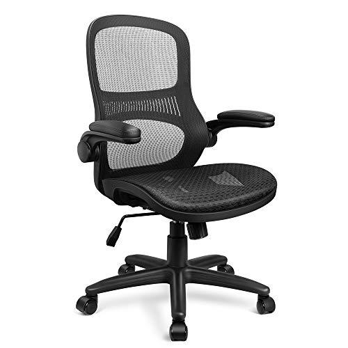 Funria Bürostuhl mit mittelhoher Rückenlehne, verstellbar, ergonomisch, Drehgelenk, mit hochklappbaren Armlehnen, Lendenwirbelstütze