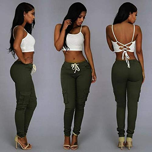 jieGorge Trousers Pants, Fashion Sexy Women Pants High Waist Stretch Slim Pencil Trousers Green/L, Women Trouser Plus Size (Green L)
