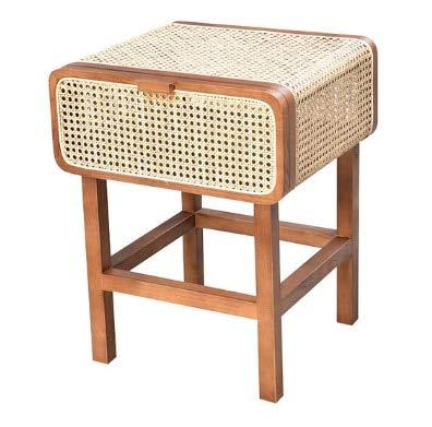 SUNTAOWAN Norea del Sur de la Corea del Sur Ratan Solid Wood Standstand Rattan Nightstand Mesa Simple Retro Gabinete (Color : 2)