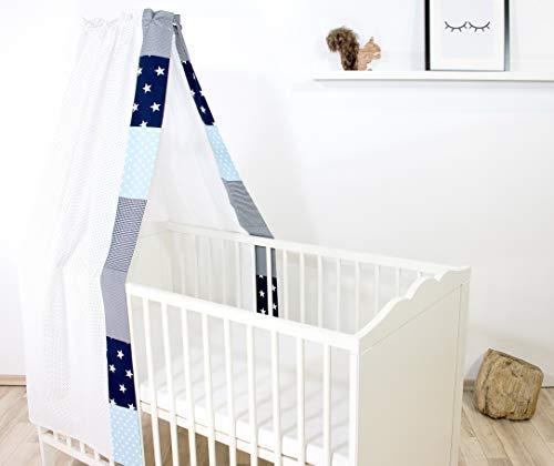 ULLENBOOM ® Betthimmel Baby 135x200 cm Blau Hellblau Grau (Made in EU) - Babybett Baldachin aus ÖkoTex Baumwolle, für 60x120 cm & 70x140 cm Kinderbett, Motiv: Punkte, Sterne, Patchwork