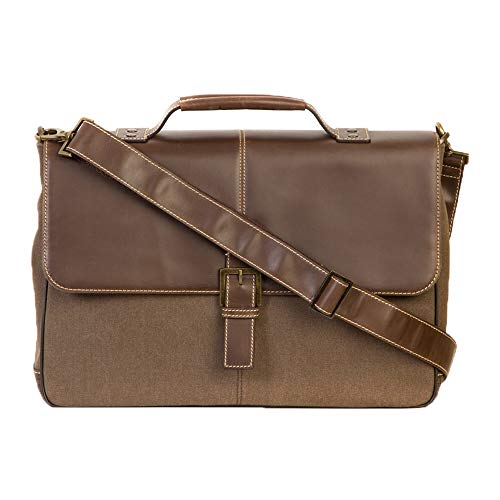 Boconi Bryant LTE Leather Brokers Bag, 15' Laptop Briefcase in Brown