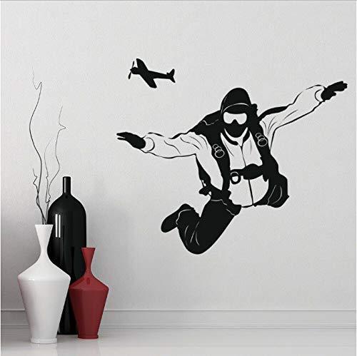 Paracaidismus vliegtuig tattoos wanddecoratie sport gekke kunst muur vinyl venster glas sticker jongeren slaapkamer decoratie voor thuis 57 x 67 cm