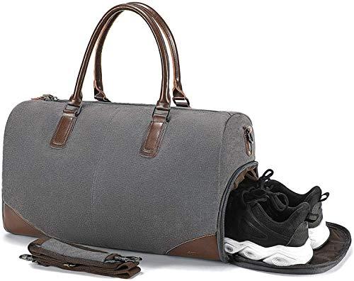 Canvas Reisetasche Herren Sporttasche mit Schuhfach - Vintage Reisetaschen Handgepäck Damen mit 14/15 Zoll Laptopfach, Unisex Weekender Tasche Umhängetasche Duffle Bag für Reise am Wochenend Urlaub
