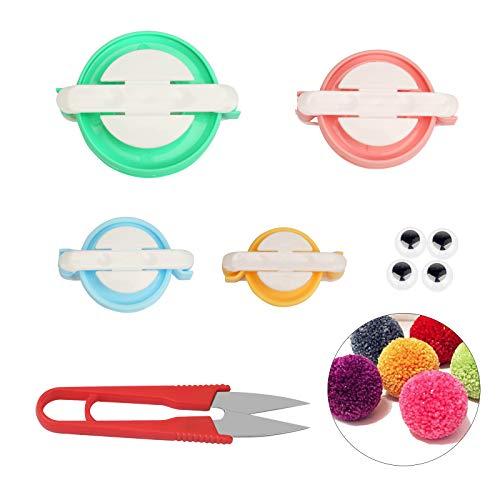 CHALA Pom-Pom Maker,4 Diverse Dimensioni la Fabbricazione di Pompon in Lana Riccia Strumento per Maglieria Artigianale Fai da te
