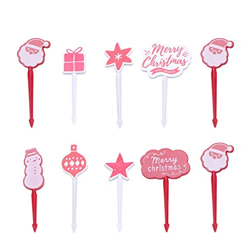DOITOOL Dessert Forks 10PCS Christmas Cartoon Fruit Sticks Creative Plastic Cake Picks Toothpicks for Appetizer Party Bar