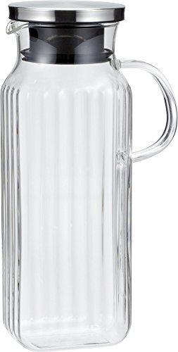 『iwaki(イワキ) 耐熱ガラス ピッチャー 冷水筒 角形 1L スクエアサーバー把手付き 麦茶 お茶 ポット KT296KT-SV』のトップ画像