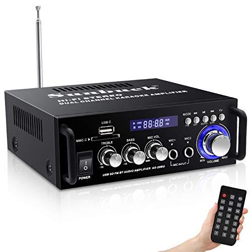 Sunbuck Wireless Bluetooth Stereo Amplifier System – 180W Dual Channel Sound Power Audio Receiver w/USB, SD Card, FM Radio for Home Speakers (29BU)