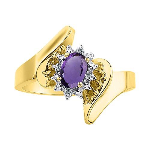 Juego de anillos de amatista y diamante en plata chapada en oro amarillo – Halo de diamante – piedra de nacimiento de color anillo