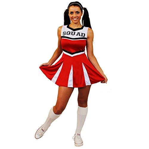 I LOVE FANCY DRESS LTD Déguisement pour Femme de Cheerleader avec Un Ensemble Rouge Haut et Jupe en 1 pièce. Idéal pour Les enterrements de Vie de Jeune Fille. ( Medium )