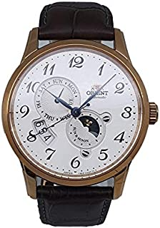 ساعة اتوماتيك تظهر طور القمر وسوار جلدي من اورينت، موديل RA-AK0001S00C