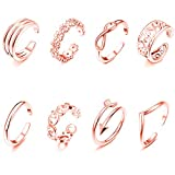 Mothers Day Gifts 8PCS Toe Rings Adjustable Silver Toe Ring Open Tail Ring Flower Knot Arrow Leaf Simple Sandals Foot Jewelry Set for Women Girls Teens - Rose Gold