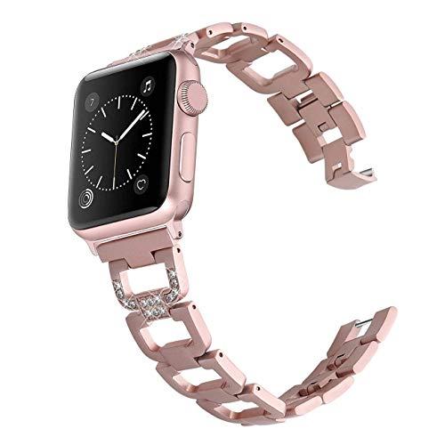 PUGO TOP - Cinturino di Ricambio per Apple Watch Serie 4, Serie 3, Serie 2, Serie 1, 38 mm, 40 mm, 42 mm, 44 mm, in Acciaio Inox di Alta qualità, Rose Gold, 38mm / 40mm