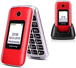 Ushining 3G Unlocked Flip Cell Phone for Senior & Kids,Easy-to-Use Big Button Cell Phone with Charging Dock (Red)