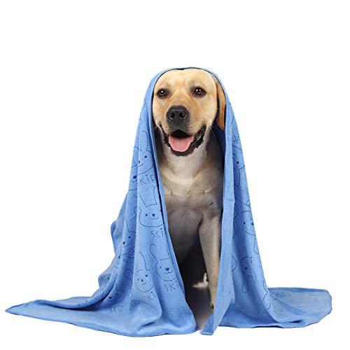 looluuloo Hundehandtuch extra saugfähig, hunde zubehör,microfaser handtücher personalisierbares, hunde handtuch, kuscheldecke hund,saugfähiges Handtuch geeignet für kleine und mittelgroße Hunde,Blau