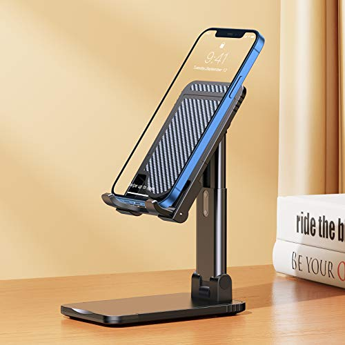 VICSEED Cell Phone Stand, Phone Holder for Desk Adjustable Tablet Stand for Office, Phone Dock: Cradle, Holder Compatible with iPhone 12 Pro Max Mini 11 XR SE All Android Smartphone, Desk Accessories