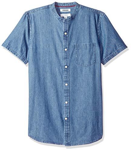 Marca Amazon – Goodthreads – Camisa vaquera con cuello en banda de manga corta y corte entallado para hombre, Azul (Medium Blue Med), US S (EU S)