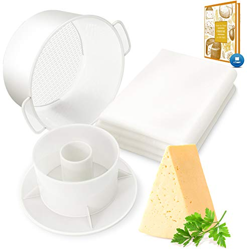 Cheese Mold with a Follower and Cheesecloth – Cheese Making Kit – Cheesemaking Supplies – Cheese Set for Press – Reusable Cheesecloth – 100% Cotton Cloth for Straining – Paneer Maker The Perfect Gift