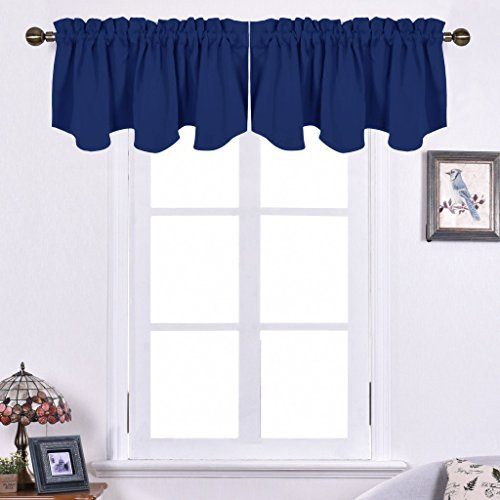 NICETOWN Blackout Valance Tier for Bedroom - Small 52 inches by 18 inches Scalloped Rod Pocket Window Curtain Valance for Cafe/Boys Bedroom/Bathroom/Basement, Navy Blue, 1 Piece