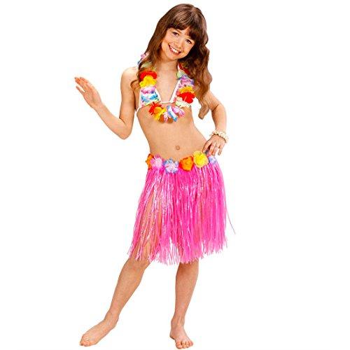 Amakando Set Houlà avec Jupe et Ceinture de Fleurs Hawaii fête d'été Beach Party aloya Rose Jupon Raphia Caraïbes Plage Accessoire déguisement Filles