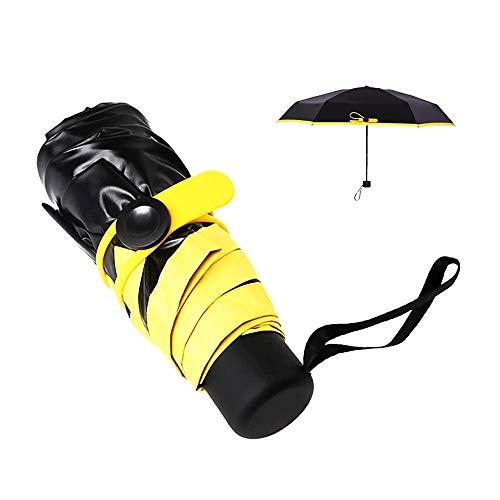 Regenschirm Ultraleicht, Kompakt Mini Schirm, Tragbarer Reise-Sonnen- und Regenschirm, Kompakter und Klappbarer Regenschirm mit uv-Schutz für Frauen Kinder Herren (Gelb)