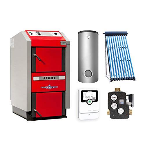 ATMOS KS3418 GS32 Holzvergaserkessel - Komplett-Set + Solarthermie-Set 2 (11m²) mit Pufferspeicher 1000L und Hygienespeicher 900L + 1SWT
