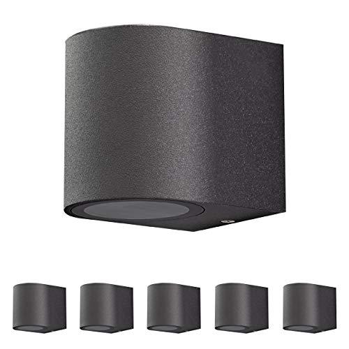 Aplique de pared exterior de aluminio. Set 6 unidades. Casquillo 1x GU10 para LED y halógeno. Pantalla difusora de cristal. Color negro