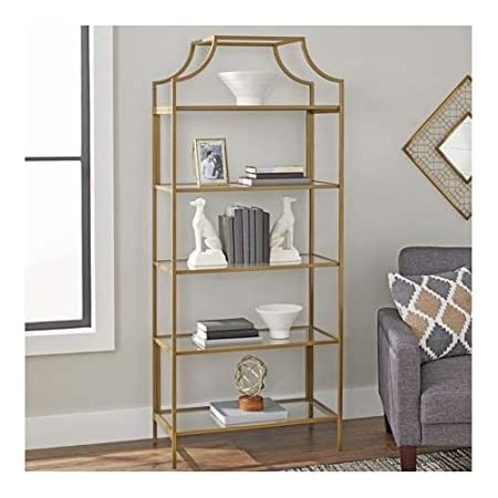 Amazon Com Crosley Furniture Aimee Narrow Etagere Bookcase Gold And Glass Furniture Decor