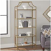 Better Homes and Gardens Nola 5-Open Shelves Bookcase, (Gold, Bookcase)