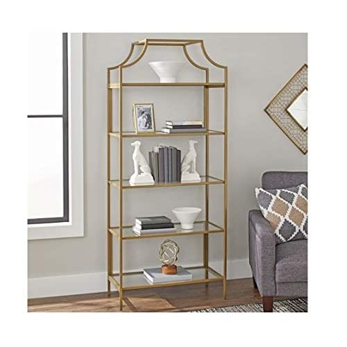 5ef900b08a Better Homes and Gardens Nola 5-Open Shelves Bookcase, (Gold, Bookcase)