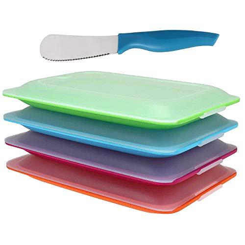 K&G Hochwertige Aufschnitt-Boxen Set platzsparend stapelbar Stapelboxen Vorratsdosen-Set für Aufschnitt Inkl. Brötchenmesser integrierte Servierplatte. Frischhaltedosen Kühlschrank (4er Sortiert)