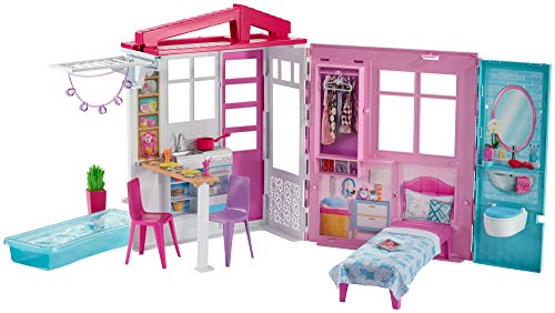 Barbie- Casa Portatile Piccola con Piscina e Accessori (Bambola Non Inclusa), Multicolore, FXG54