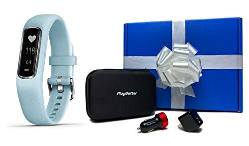 Garmin vivosmart 4 (Azure Blue/Silver - Small/Medium) Gift Box Bundle | +PlayBetter USB Car/Wall Adapters & Protective Hard Case | Fitness Activity Tracker | Heart Rate