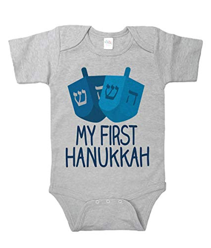 7 ate 9 Apparel Baby's My First Hanukkah Onepiece 6-12 Months Grey