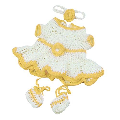 D DOLITY Süße Puppen Strickkleid, Stirnband, Socken Kleidung Satz Für 17 '' - 18 '' Baby Mädchen Puppe - Gelb