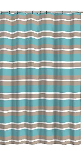 Aqua Blue Tan White Canvas Fabric Shower Curtain: Striped Design, 70' x 72' Inch