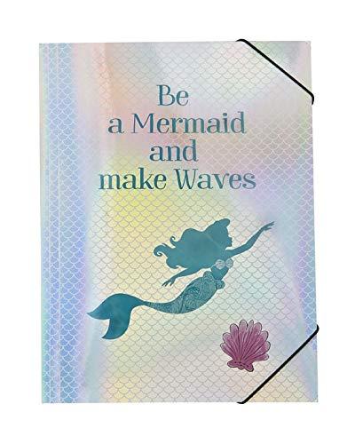 Disney Arielle Gummizugmappe A4 - Einschlagmappe mit schimmerndem Cover in Meerjungfrau Optik, Sammelmappe für Kinder mit Gummi Eckspannern zum Organisieren von Schulsachen, Zeichnungen, Noten