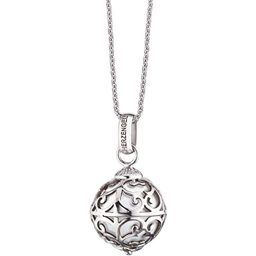 Herzengel Kette  mit Engelsrufer Anhänger für Mädchen 925er-Sterlingsilber rhodiniert mit weißer Klangkugel Länge 38 cm plus 2 cm