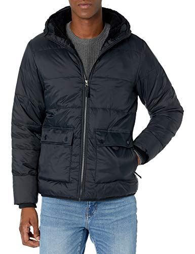 Amazon Essentials Men's Long-Sleeve Water-Resistant Sherpa-Lined Puffer Jacket, Black, Medium