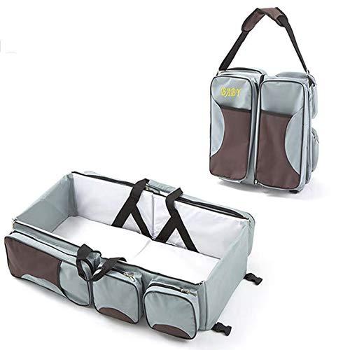 SMBYQ Cambio de la Bolsa de pañales de la Bolsa - 3 en 1 Bolsa de pañales portátiles Tote para el Cochecito de Viaje Impermeable Viaje Infantil Cambio de bebé,Gris