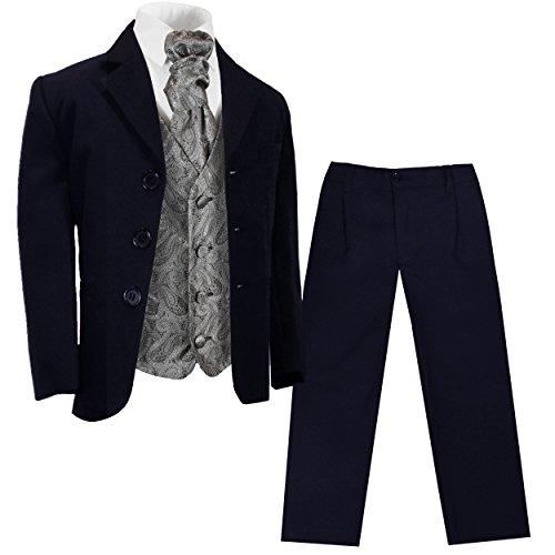 Paul Malone - Jungen Anzug für Kinder festlicher Kinderanzug blau (tailliert) + Silber graue Hochzeit Weste mit Plastron 6