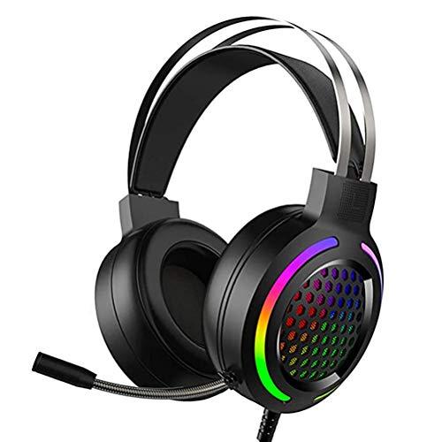 Auriculares para videojuegos, con micrófono PS4, auriculares con cable de 16 colores RGB de luz, con cable para PC con sonido envolvente 7.1 estéreo USB de 3.5 mm para PC, PS4, portátil, PS5