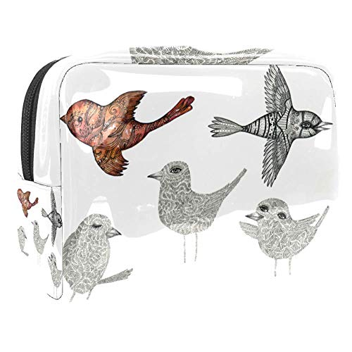 Six Birds Travel Makeup Train Case Makeup Cosmetic Case Organizer Portable Artist Storage Bag