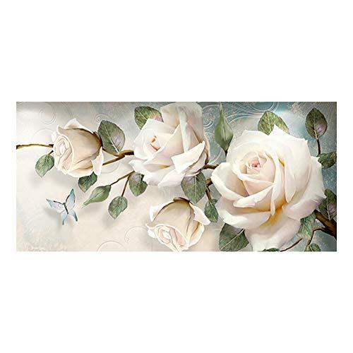 Sunnay Diamond Painting Set,Große weiße Rose, 5D Diamant Painting Art Full Stickerei Groß Bilder DIY Diamonds Malerei,45 x 90 cm