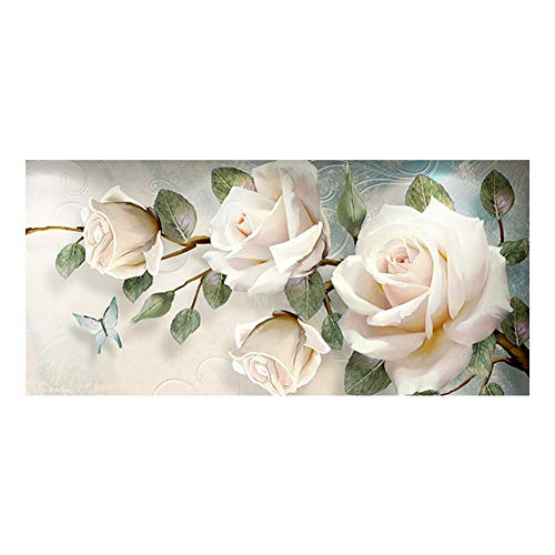 Sunnay Diamond Painting Set,Große weiße Rose, 5D Diamant Painting Art Full Stickerei Groß Bilder DIY Diamonds Malerei,45 x 90 cm