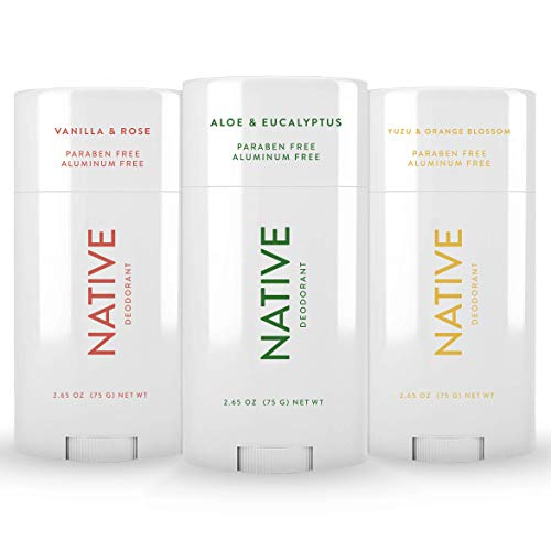Native Deodorant - Natural Deodorant For Women and Men - 3 Pack - Aluminum Free, Free of Parabens and Sulfates - Vegan, Contains Probiotics - Aloe & Eucalyptus, Vanilla & Rose, Yuzu & Orange